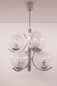 Vintage Chrome and Glass Chandelier Richard Essig