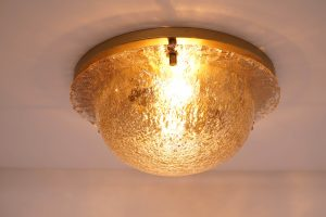 Vintage Glass and Brass Flush Mount