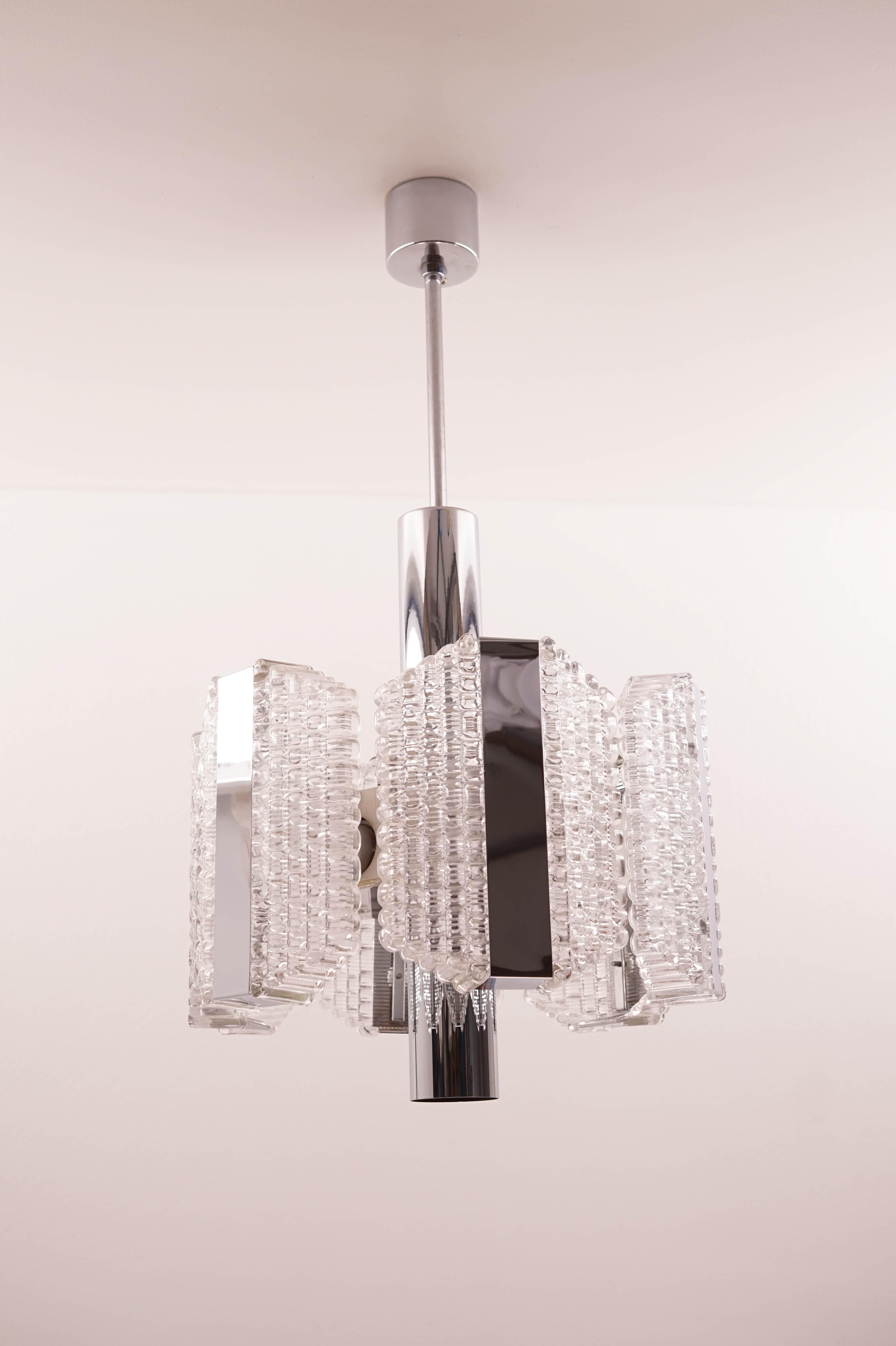 Glass and Brass Ceiling Light Kaiser Leuchten